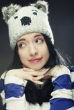 Young woman in funny winter hat Royalty Free Stock Image