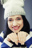 Young woman in funny winter hat. Playful young woman in funny winter hat Stock Photos