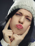 Young woman in funny winter hat Royalty Free Stock Photo