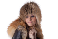 Young woman in fur. Royalty Free Stock Images