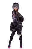 Young woman in fur. Stock Photo