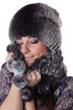 Young woman in fur. Royalty Free Stock Photography