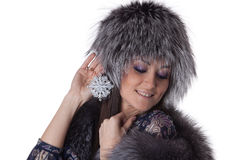Young woman in fur. Royalty Free Stock Image