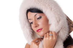 Young woman in fur. Young woman in fur   on a white background Stock Images