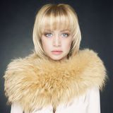Young woman with fur Stock Image