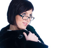 Young woman in fur coat Royalty Free Stock Photos
