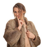 Young woman in a fur coat Royalty Free Stock Images