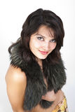 The young woman in the fur collar. Royalty Free Stock Image