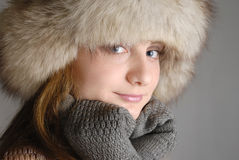 Young woman in fur hat Royalty Free Stock Photography