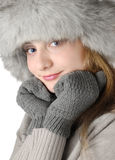 Young woman in fur hat Stock Photography