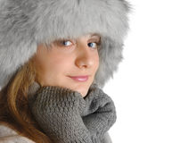 Young woman in fur hat Royalty Free Stock Image