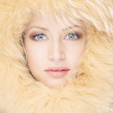 Young woman in fur hat Stock Photos