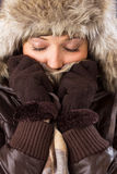 Young woman with fur hat, scarf and gloves royalty free stock images