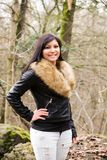 Young woman with fur jacket III stock images