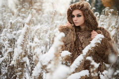 Young woman in fur.winter outdoor Stock Images