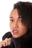 Young woman in furs Stock Image