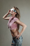 Young woman with futuristic glasses Royalty Free Stock Photo