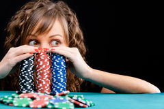 Young woman with gambling chips Royalty Free Stock Image