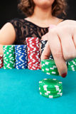 Young woman with gambling chips Stock Images
