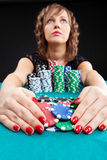Young woman with gambling chips Stock Photography