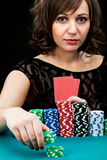 Young woman with gambling chips Royalty Free Stock Images