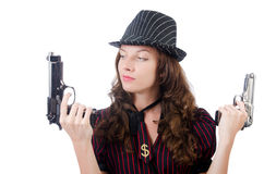 Young woman gangster with gun Royalty Free Stock Photos