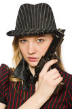 Young woman gangster with gun Stock Photos