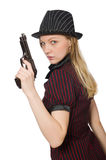 Young woman gangster with gun Stock Photography