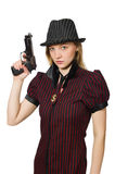 Young woman gangster with gun Stock Images