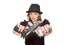 Young woman gangster with gun Royalty Free Stock Images