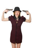 Young woman gangster with gun Royalty Free Stock Photo