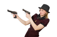 Young woman gangster with gun Stock Image