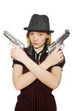 Young woman gangster with gun Royalty Free Stock Photography