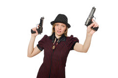 Young woman gangster with gun Royalty Free Stock Image