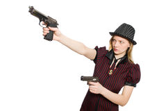 Young woman gangster Royalty Free Stock Image