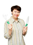 Young woman with garden tools Royalty Free Stock Photography