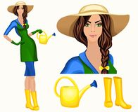 Young woman garden worker. Attractive young gardener woman standing in wide brim hat and wellingtons with watering can vector illustration Stock Photos