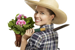 Young woman   gardener Royalty Free Stock Photography