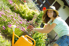Young woman gardener working with flowers Royalty Free Stock Photography