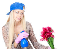 Young woman with gardening Stock Images