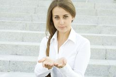 Young woman gesturing Royalty Free Stock Image