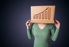 Young woman gesturing with a cardboard box on his head with diag Stock Photography
