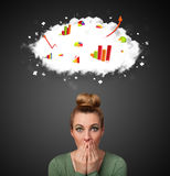 Young woman gesturing with cloud and charts concept Royalty Free Stock Photo
