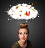 Young woman gesturing with cloud and charts concept Stock Image