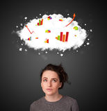 Young woman gesturing with cloud and charts concept Stock Photography