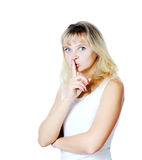 Young Woman Gesturing for Quiet. Or Shushing Stock Photo