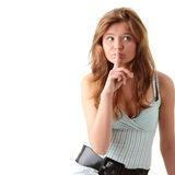 Young woman gesturing silence Stock Images