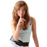 Young woman gesturing silence Stock Image