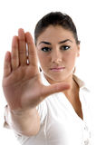 Young woman gesturing to stop Royalty Free Stock Photos