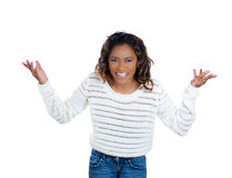 Young woman gesturing what the hell Royalty Free Stock Photo
